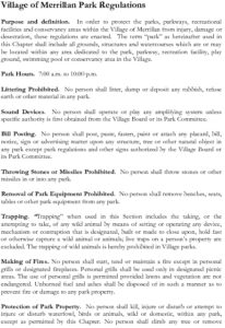 Village Of Merrillan Park Regulations