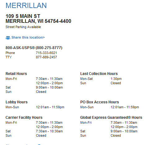 image showing the hours and location for post office in merrilan wisconsin